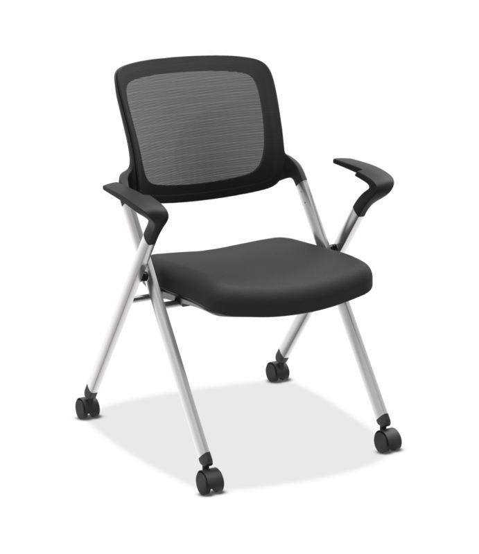 HON Assemble Mesh Back Nesting / Stacking Chair   Fixed Arms   Two Per Carton   Black Fabric   Black Mesh   Black Frame