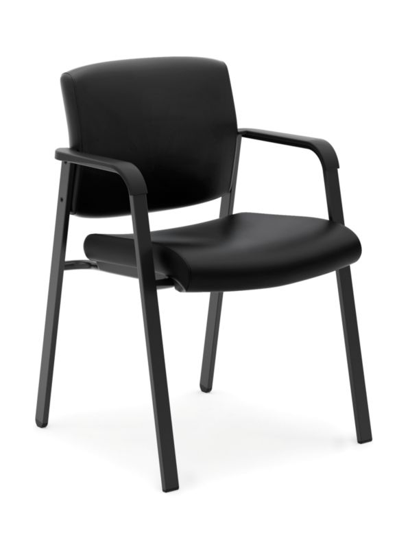 HON Validate Stacking Guest Chair | Black SofThread Leather