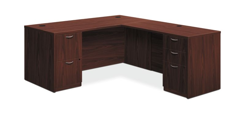"HON Foundation L-Workstation | 2 Box / 3 File Drawers | 66""W x 87""D 