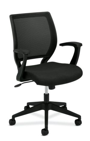 HON Mesh Mid-Back Task Chair | Center-Tilt, Tension, Lock | Fixed Arms | Black Fabric