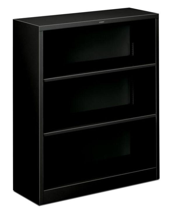 "HON Brigade Steel Bookcase | 3 Shelves | 34-1/2""W x 12-5/8""D x 41""H | Black Finish"