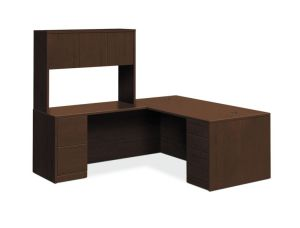 HON 10500 Series L-Workstation | Stack-On Storage | Full Pedestals | 2 Box / 3 File Drawers | 72″W x 84″D | Mocha Finish