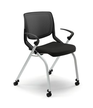 HON Motivate Nesting Stacking Chair   Black 4-way Stretch Back   Fixed Arms   Onyx Shell   Platinum Frame   Black Fabric