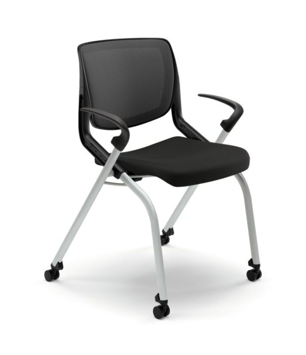 HON Motivate Nesting Stacking Chair | Black 4-way Stretch Back | Fixed Arms | Onyx Shell | Platinum Frame | Black Fabric