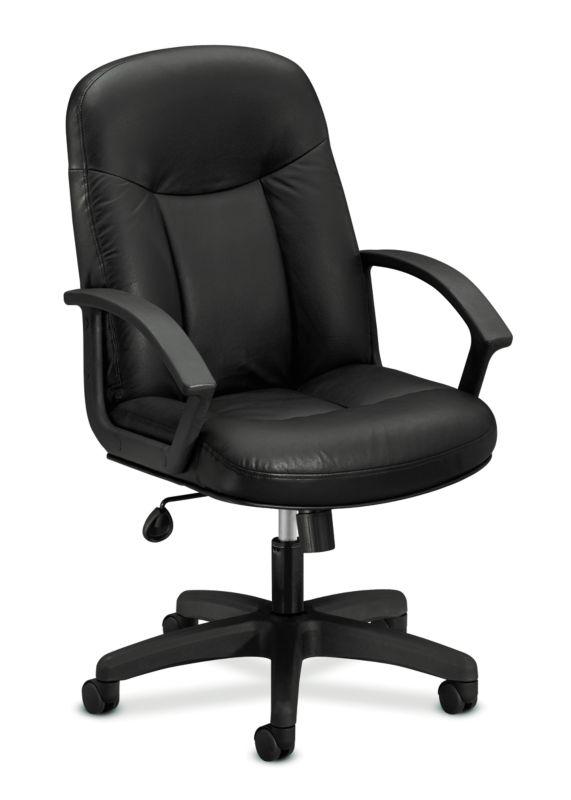 HON High-Back Executive Chair | Center-Tilt, Tension, Lock | Fixed Arms | Black SofThread Leather