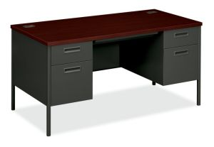 HON Metro Classic Double Pedestal Desk | 2 Box / 2 File Drawers | 60″W x 30″D x 29-1/2″H | Mahogany Laminate | Charcoal Finish