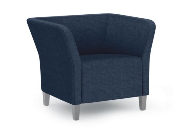 HON Flock Square Lounge Chair | Textured Satin Chrome Legs | Tapered Square Legs | Oxford Fabric