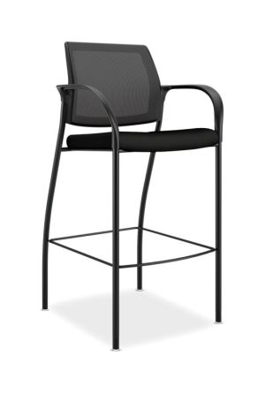HON Ignition Cafe-Height 4-Leg Stool | Fixed Arms | Glides | Black 4-way stretch Mesh Back | Black Seat Fabric | Black Frame