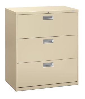 HON Brigade 600 Series Lateral File | 3 Drawers | Polished Aluminum Pull | 36″W x 18″D x 40-7/8″H | Putty Finish