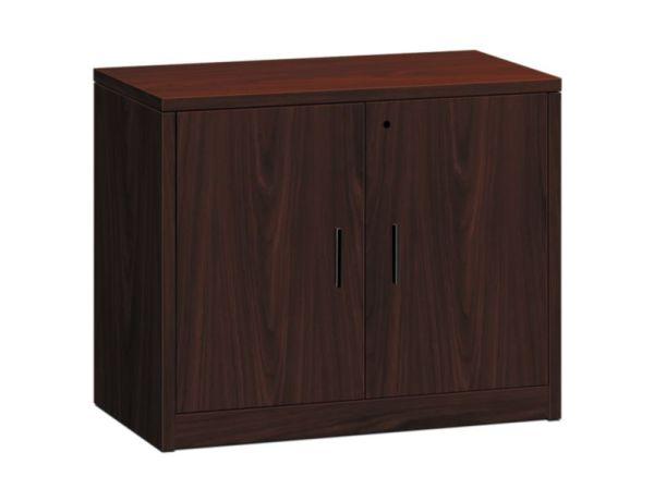 "HON 10500 Series Storage Cabinet | 2 Doors | 36""W x 20""D x 29-1/2""H | Mahogany Finish"