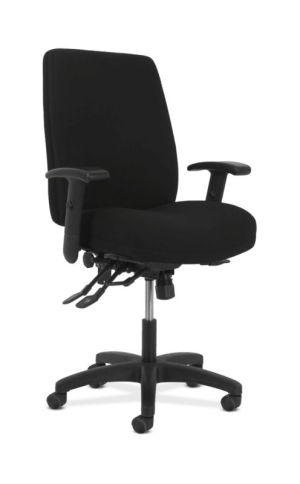 HON Network High-Back Task Chair | Asynchronous Control | Height- and Width-Adjustable Arms | Black Fabric