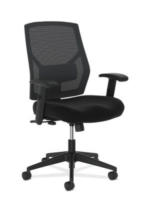 HON Crio High-Back Task Chair | Mesh Back | Adjustable Arms | Adjustable Lumbar | Black Fabric