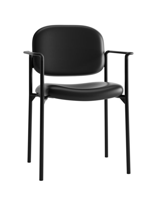 HON Scatter Stacking Guest Chair | Fixed Arms | Black SofThread Leather