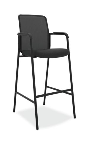 HON Instigate Cafe-Height Stool | Fixed Arms | Black