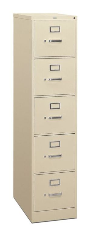 HON 310 Series Vertical File | 5 Drawers | Letter Width | 15″W x 26-1/2″D x 60″H | Putty Finish