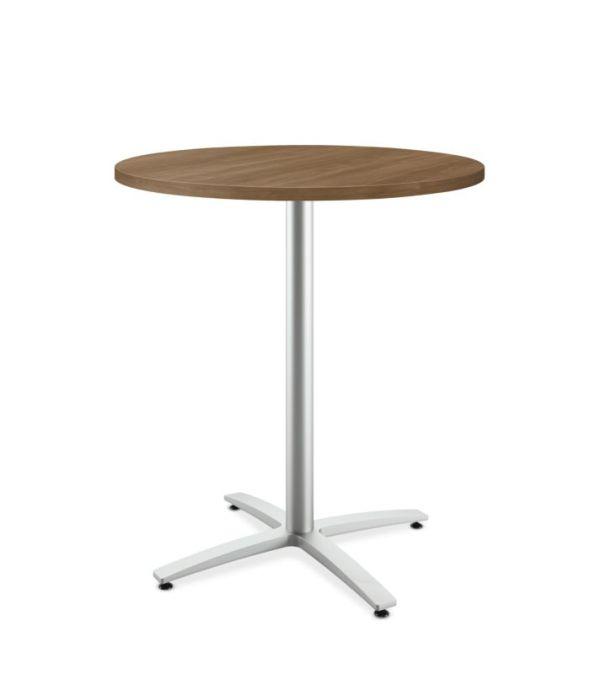 "HON Between Round Table | Standing Height X-Base | 36""D | Pinnacle Laminate | Pinnacle Edgeband | Textured Silver Finish"