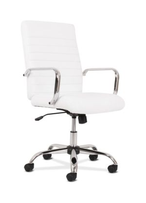 Sadie Executive Chair | Fixed Arms | White Leather | Chrome Accents