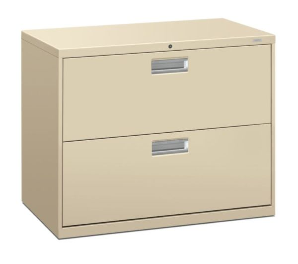 "HON Brigade 600 Series Lateral File | 2 Drawers | Polished Aluminum Pull | 36""W x 18""D x 28-3/8""H 