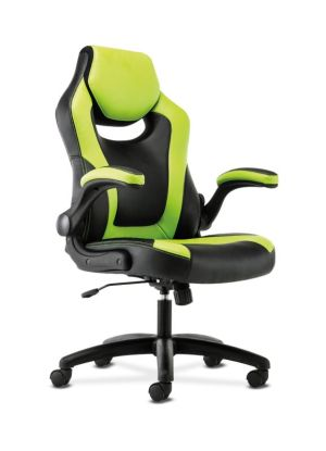 Sadie Racing Style Gaming Chair | Flip-Up Arms | Black and Green Leather