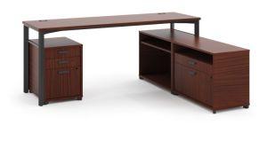 HON Manage L-Workstation | Desk, 2 File Centers, Pedestal | 72″W x 60″D | Chestnut Laminate | Ash Finish
