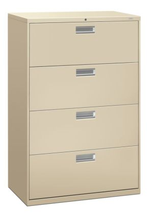 HON Brigade 600 Series Lateral File | 4 Drawers | Polished Aluminum Pull | 36″W x 18″D x 53-1/4″H | Putty Finish