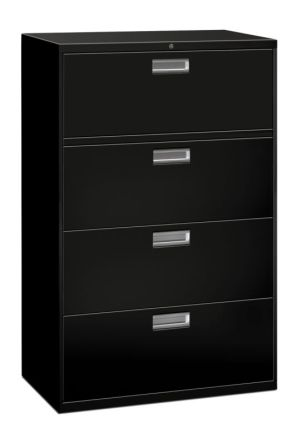 HON Brigade 600 Series Lateral File | 4 Drawers | Polished Aluminum Pull | 36″W x 18″D x 53-1/4″H | Black Finish