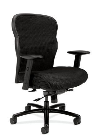 HON Wave Mesh Big and Tall Executive Chair   Knee-Tilt, Tension, Lock   Adjustable Arms   Black Mesh Back   Black Fabric Seat