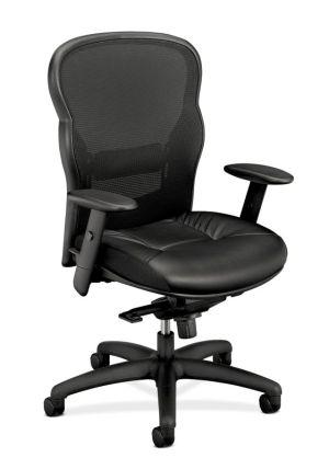 HON Wave Mesh High-Back Task Chair   Knee-Tilt, Tension, Lock   Adjustable Arms   SofThread Leather