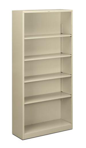 HON Brigade Steel Bookcase   5 Shelves   34-1/2″W x 12-5/8″D x 71″H   Putty Finish