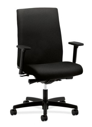 HON Ignition Mid-Back Task Chair | Synchro-Tilt, Back Angle, Tension, Multi-Position Lock, Seat Glide | Adjustable Arms | Black Fabric
