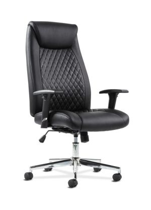 Sadie Executive Chair | Height-Adjustable Arms | Black Leather | Chrome Accents