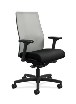 HON Ignition 2.0 Mid-Back Task Chair |  Fog 4-way stretch Mesh Back | Adjustable Lumbar Support | Easy Assembly | Black Fabric