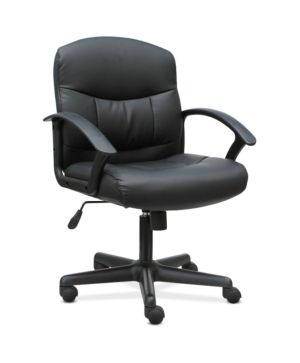 Sadie Mid-Back Chair | Fixed Arms | Black Leather