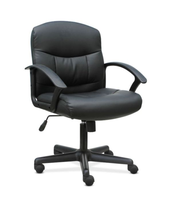 Sadie Mid-Back Chair   Fixed Arms   Black Leather