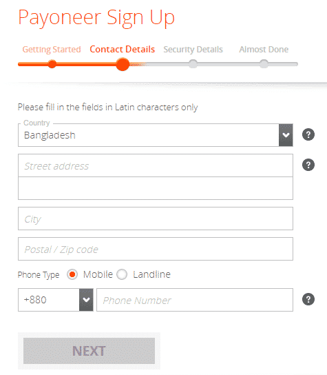 Registration Process Payoneer Prepaid card