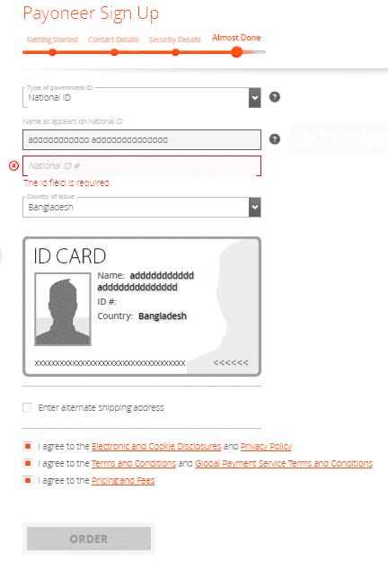 Payoneer Master Card Reg Process