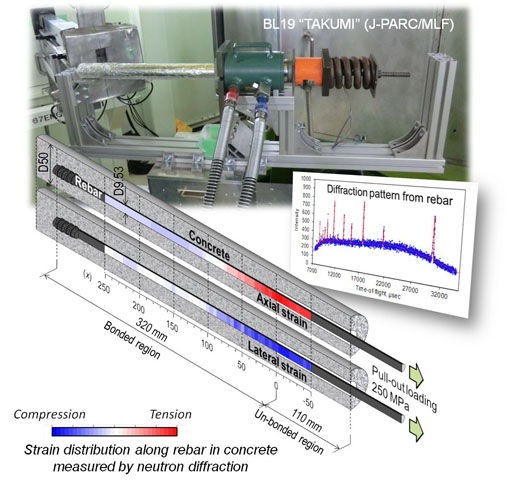 Measuring strain and stress distributions along rebar embedded in concrete using time-of-flight neutron diffraction-- Advances in Engineering