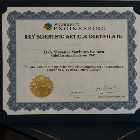 Advances in Engineering Certificate of research excellence