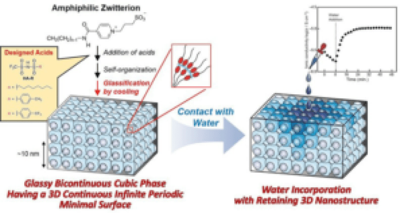 Development of Glassy Bicontinuous Cubic Liquid Crystals for Solid Proton-Conductive Materials - Advances in Engineering