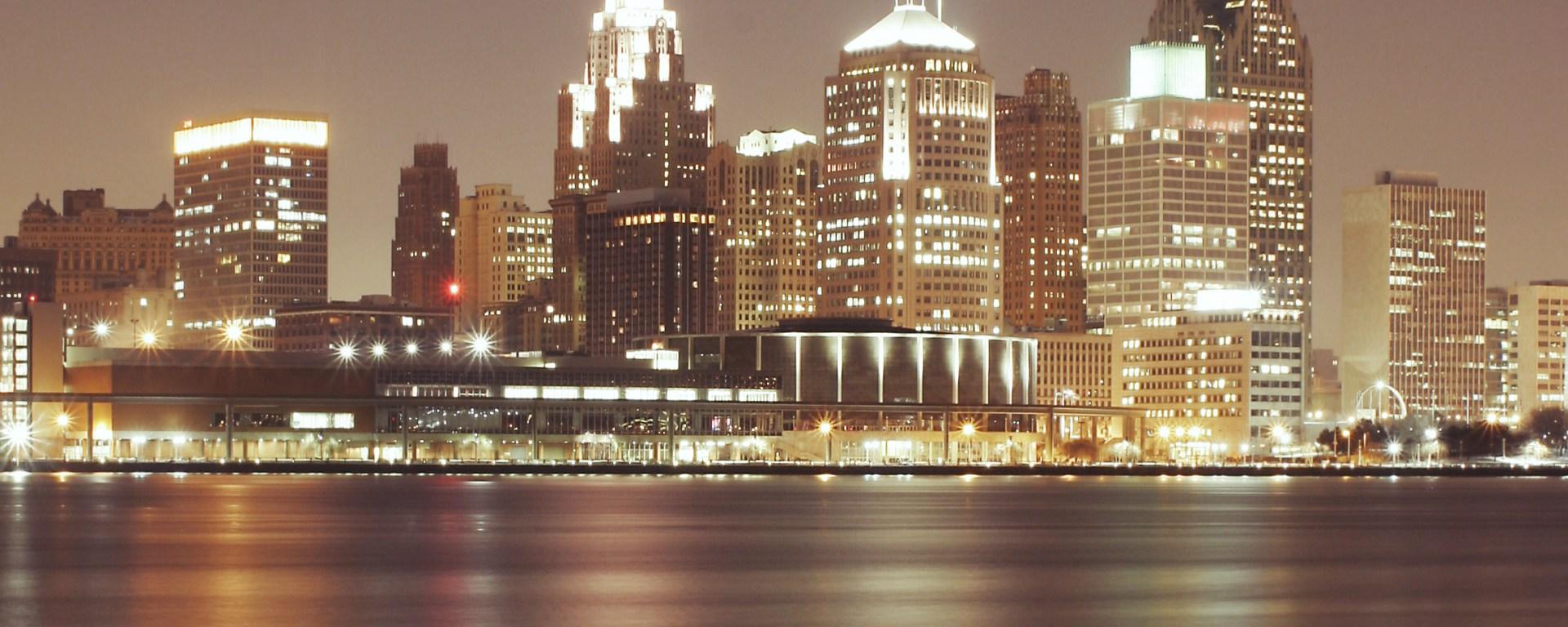 Detroit skyscrapers at night.