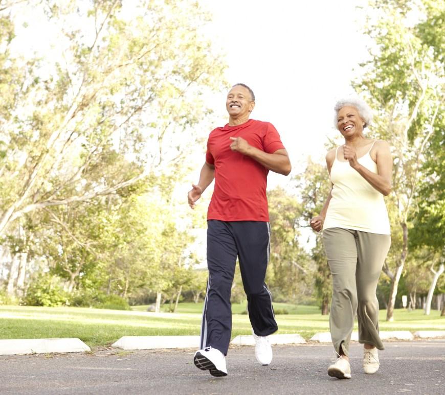 Man and woman jogging.
