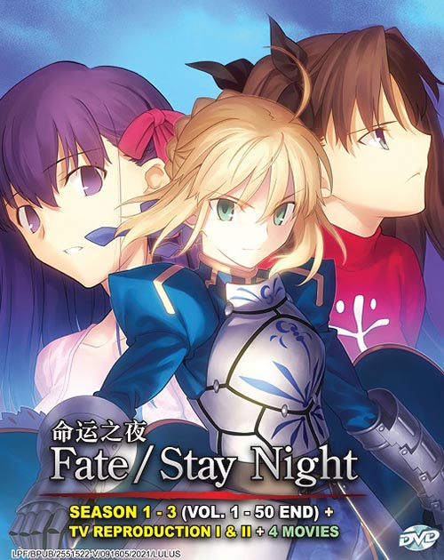 Fate/Stay Night Season 1 - 3 ( Vol. 1-50 End) + TV Reproduction I & II + 4 Movie dvd