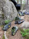 Fikapaus, även klätterskorna får vila llite