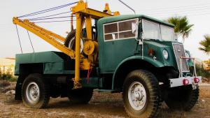 Green and Yellow Tow Truck