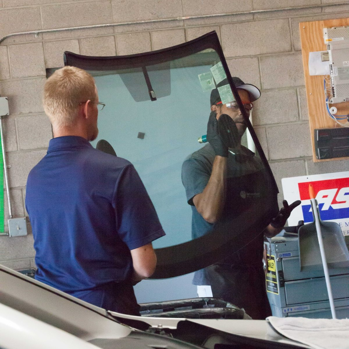 Dave and Jim Installing a Windshield