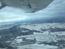 From the wing of the plane