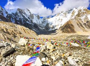 Everest Base Camp marked with prayer flags