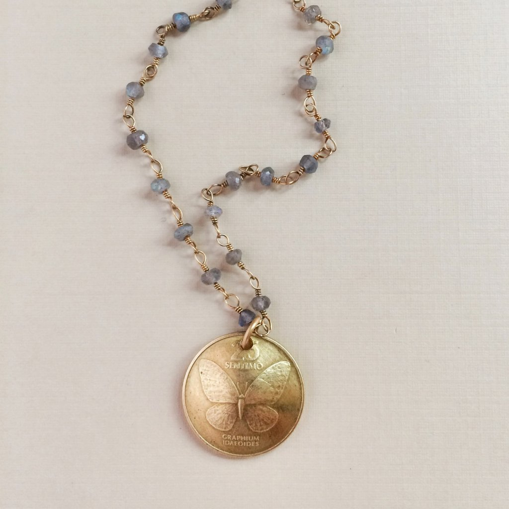 Butterfly Coin Necklace from KellyAnnie.com