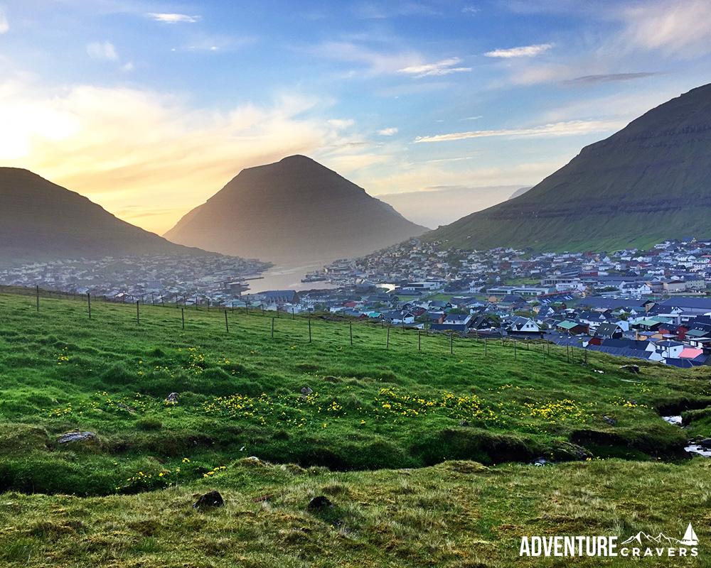 Sunset view over Klaksvik in the Faroe Islands