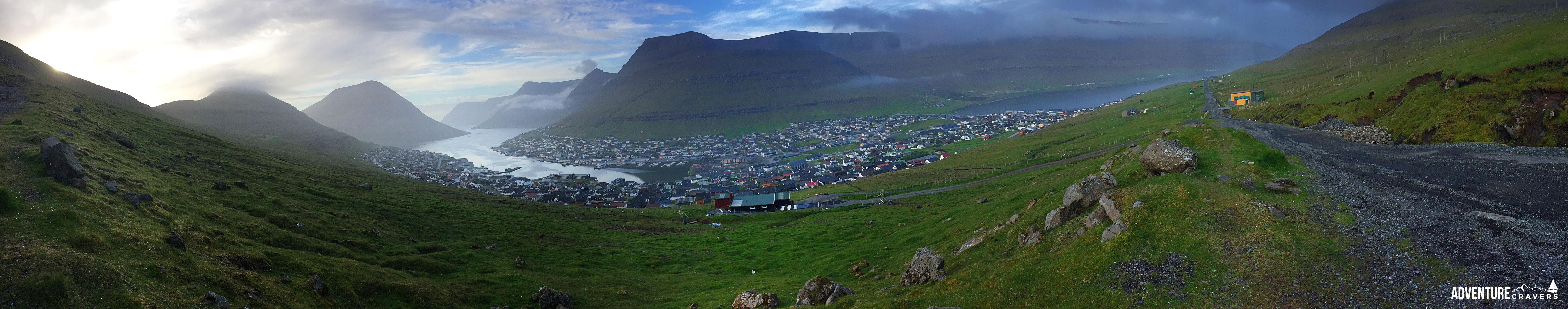 Pano of Klaskvik on our hike above the city